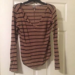 Casual Brown Striped Long Sleeve Top